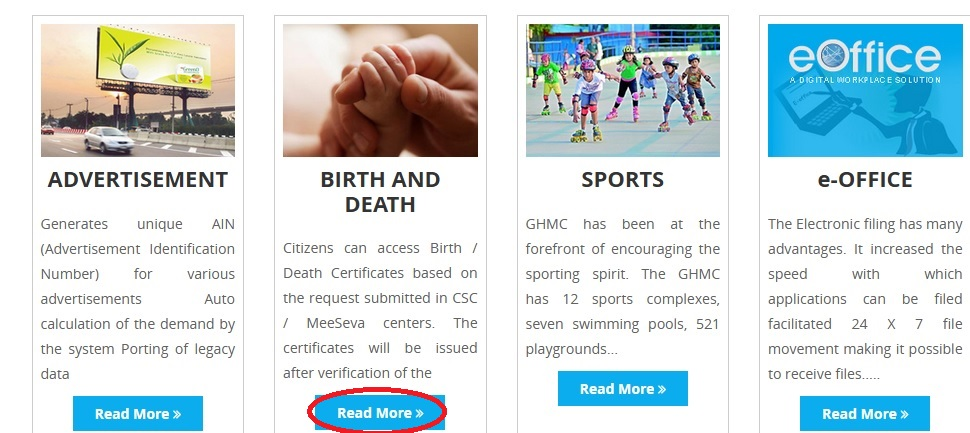 Ghmc get births deaths certificate online hyderabad statusin go to the link of birth death certificate available in ghmc home page yadclub Images
