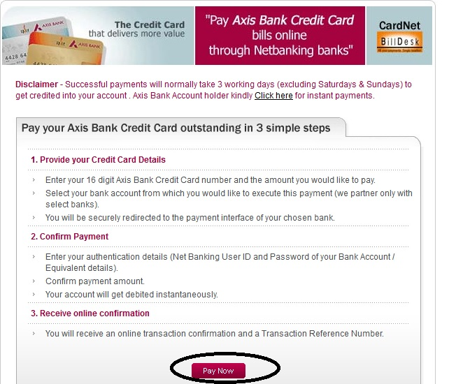 online axis bank credit card payment through internet banking