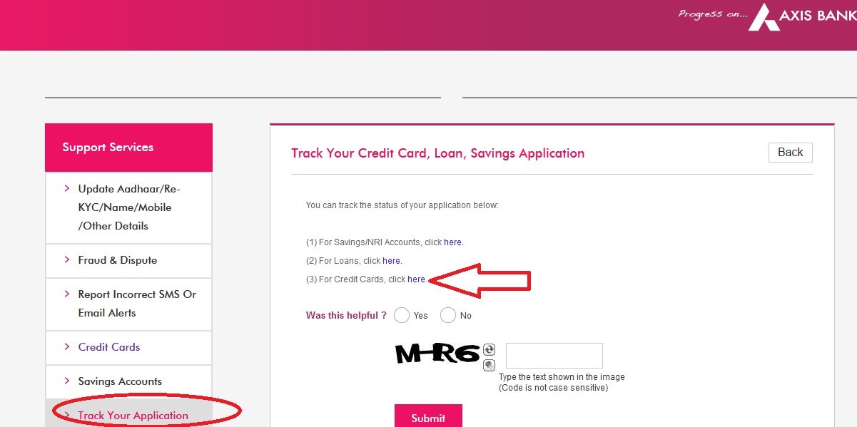 application status of axis bank credit card