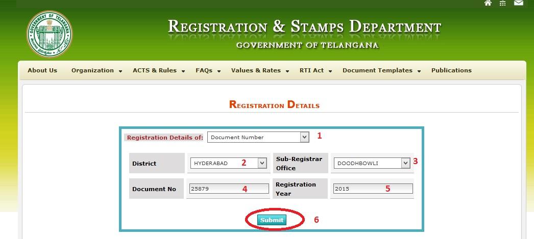 Registration Telangana Deed Details Online – www statusin in