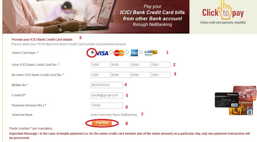 icici bank credit card transaction details online