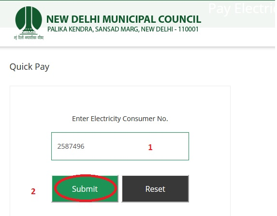 ndmc gov in e-Payment of Electricity/ Water Bill : New Delhi