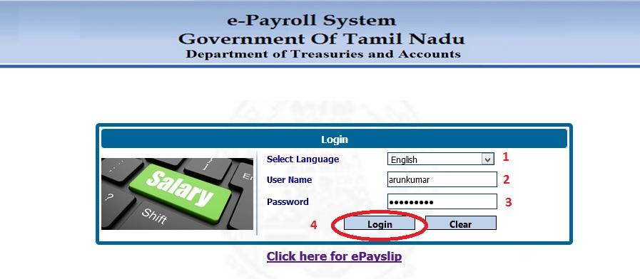 Tn E Payroll Epayslip Online System Treasuries