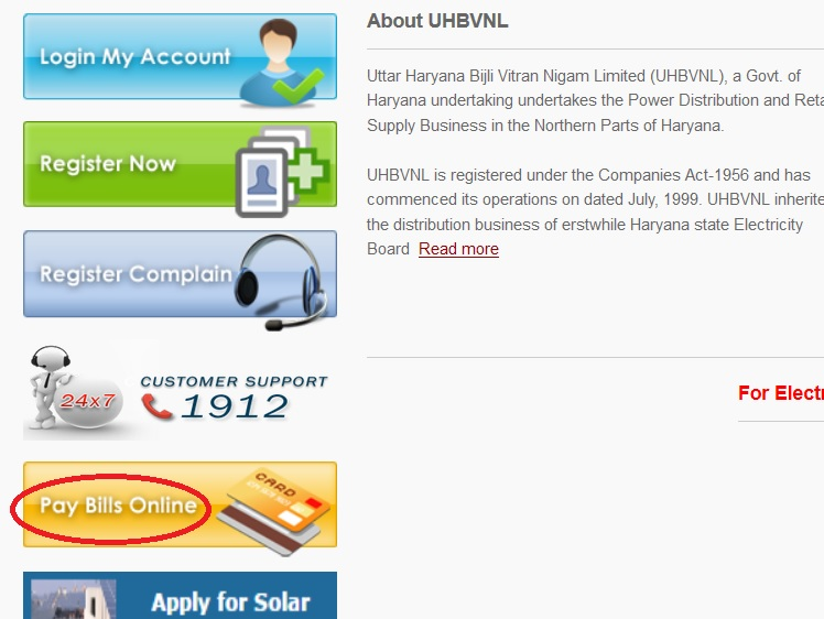 UHBVN : Pay & View Electricity Bill Online Haryana – www statusin in